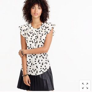 J Crew Black/White Cherry Blouse